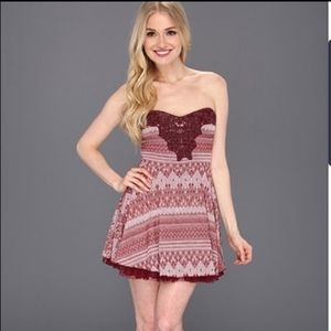 Free People Red & White Strapless Dress